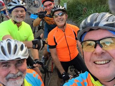 Rob, John, David, Ross and George at end of Bobbin Head climb, North Turramurra